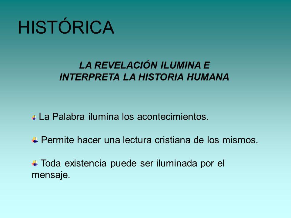 LA REVELACIÓN ILUMINA E INTERPRETA LA HISTORIA HUMANA HISTÓRICA La Palabra ilumina los acontecimientos. Permite hacer una lectura cristiana de los mis
