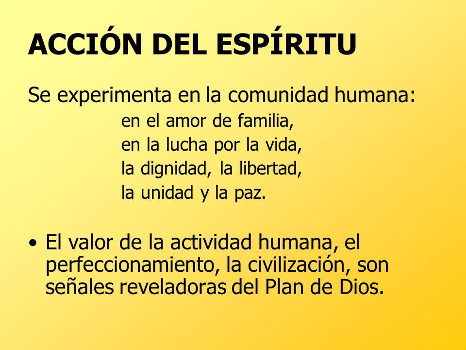 ACCIÓN DEL ESPÍRITU Se experimenta en la comunidad humana: en el amor de familia, en la lucha por la vida, la dignidad, la libertad, la unidad y la pa