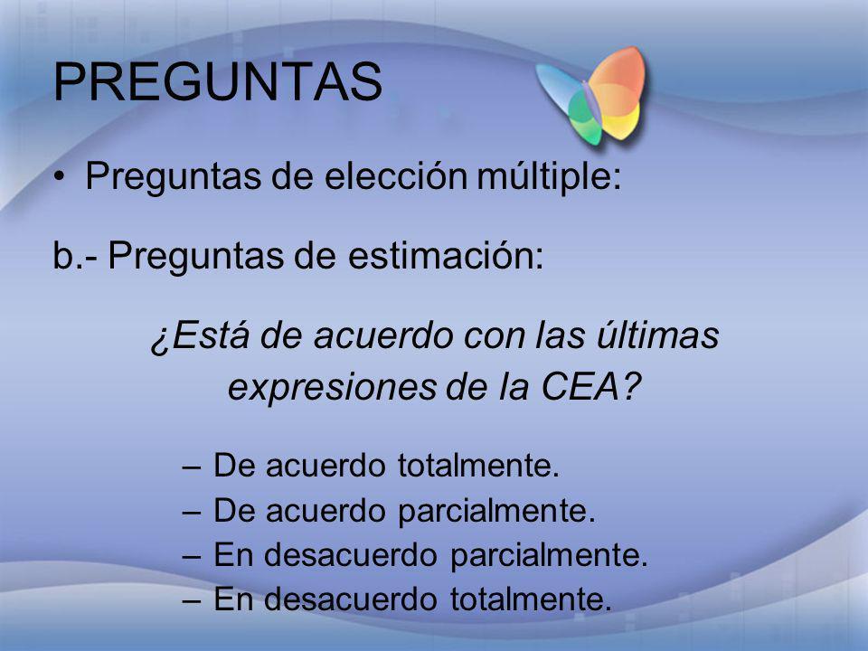 PREGUNTAS Preguntas de elección múltiple: b.- Preguntas de estimación: ¿Está de acuerdo con las últimas expresiones de la CEA? – De acuerdo totalmente