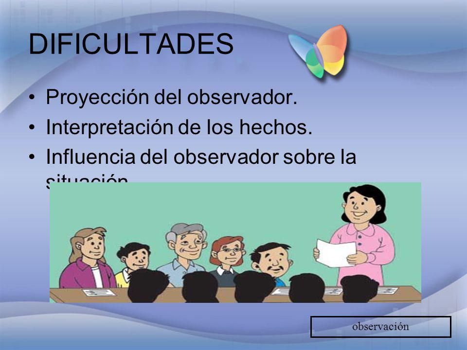 DIFICULTADES Proyección del observador. Interpretación de los hechos. Influencia del observador sobre la situación. observación