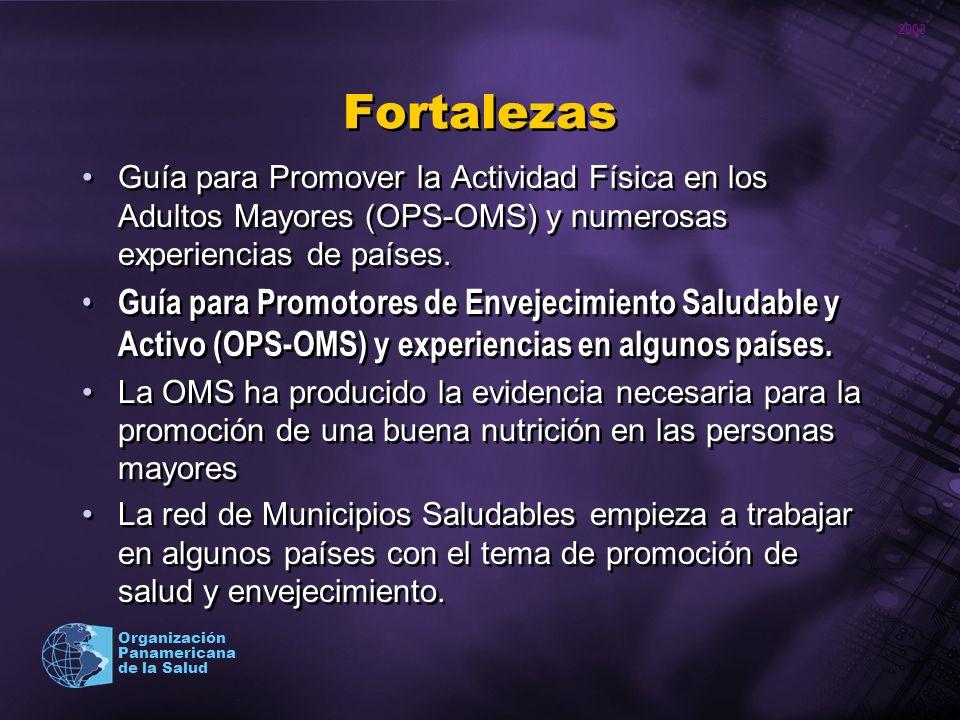 2003 Organización Panamericana de la Salud Fortalezas Guía para Promover la Actividad Física en los Adultos Mayores (OPS-OMS) y numerosas experiencias