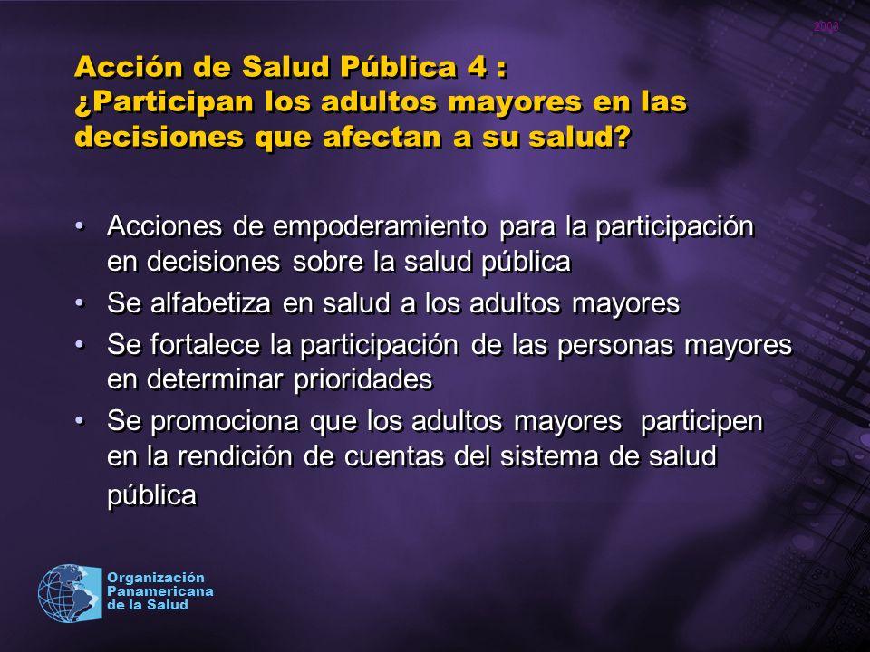 2003 Organización Panamericana de la Salud Acción de Salud Pública 4 : ¿Participan los adultos mayores en las decisiones que afectan a su salud? Accio