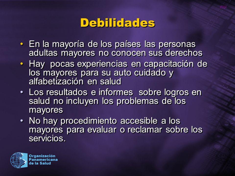 2003 Organización Panamericana de la Salud Debilidades En la mayoría de los países las personas adultas mayores no conocen sus derechos Hay pocas expe