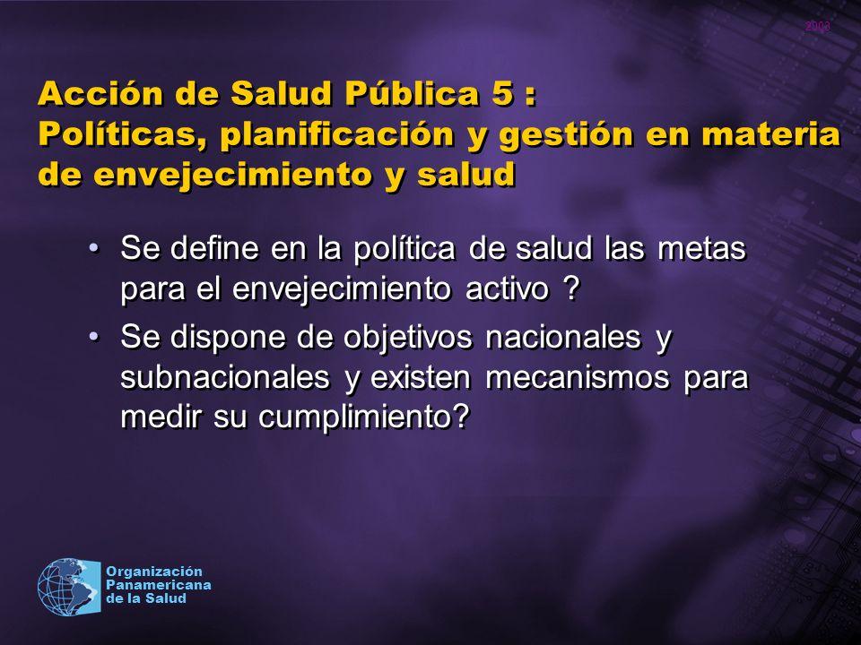 2003 Organización Panamericana de la Salud Acción de Salud Pública 5 : Políticas, planificación y gestión en materia de envejecimiento y salud Se defi
