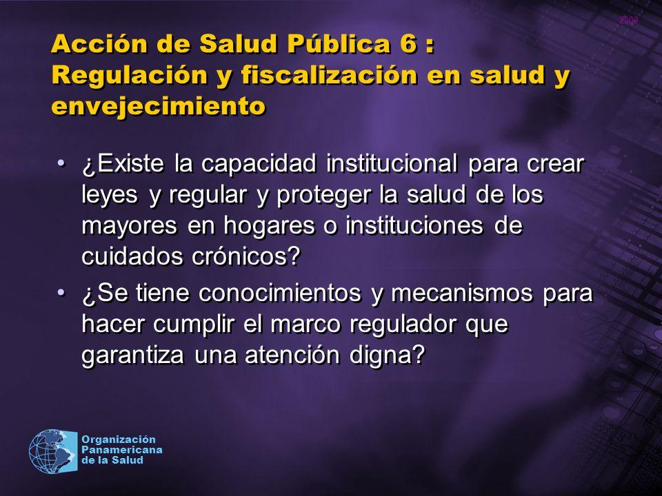 2003 Organización Panamericana de la Salud Acción de Salud Pública 6 : Regulación y fiscalización en salud y envejecimiento ¿Existe la capacidad insti