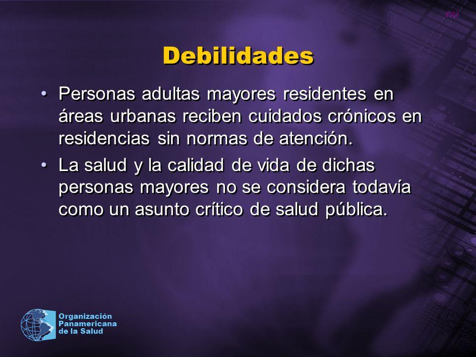 2003 Organización Panamericana de la Salud Debilidades Personas adultas mayores residentes en áreas urbanas reciben cuidados crónicos en residencias s