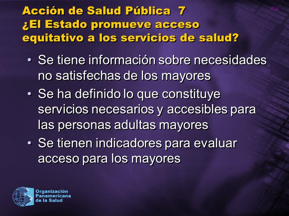 2003 Organización Panamericana de la Salud Acción de Salud Pública 7 ¿El Estado promueve acceso equitativo a los servicios de salud? Se tiene informac