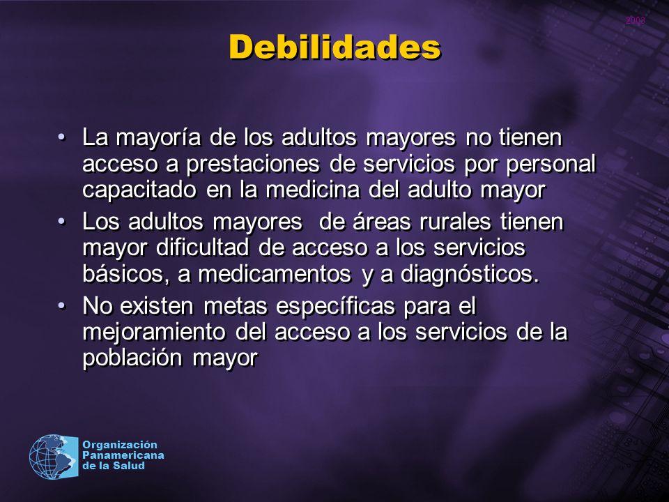 2003 Organización Panamericana de la Salud Debilidades La mayoría de los adultos mayores no tienen acceso a prestaciones de servicios por personal cap