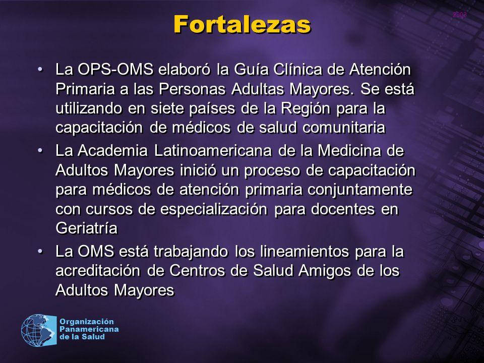 2003 Organización Panamericana de la Salud Fortalezas La OPS-OMS elaboró la Guía Clínica de Atención Primaria a las Personas Adultas Mayores. Se está