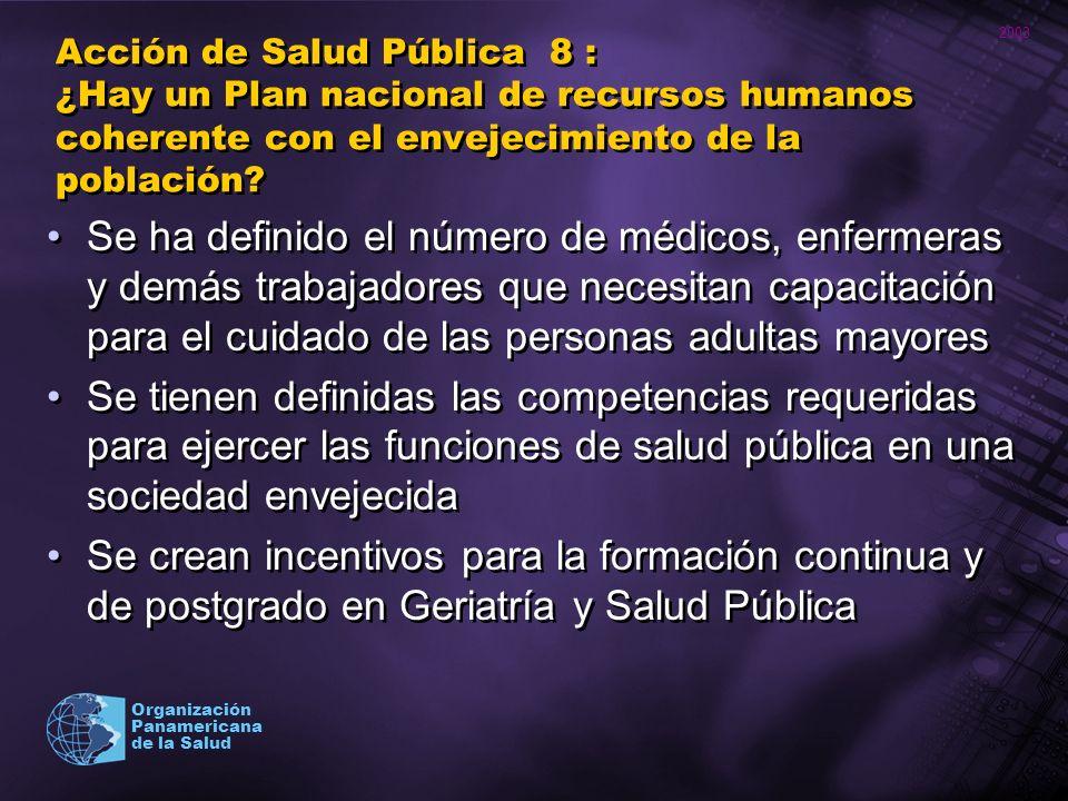 2003 Organización Panamericana de la Salud Acción de Salud Pública 8 : ¿Hay un Plan nacional de recursos humanos coherente con el envejecimiento de la