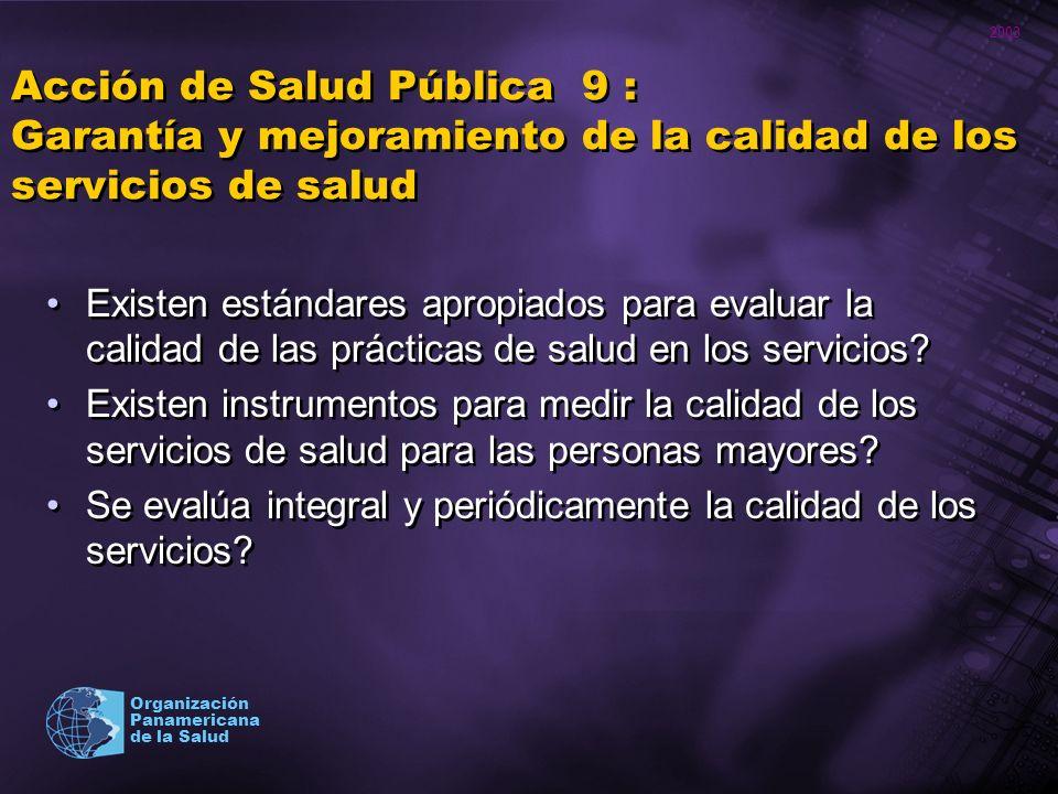 2003 Organización Panamericana de la Salud Acción de Salud Pública 9 : Garantía y mejoramiento de la calidad de los servicios de salud Existen estánda