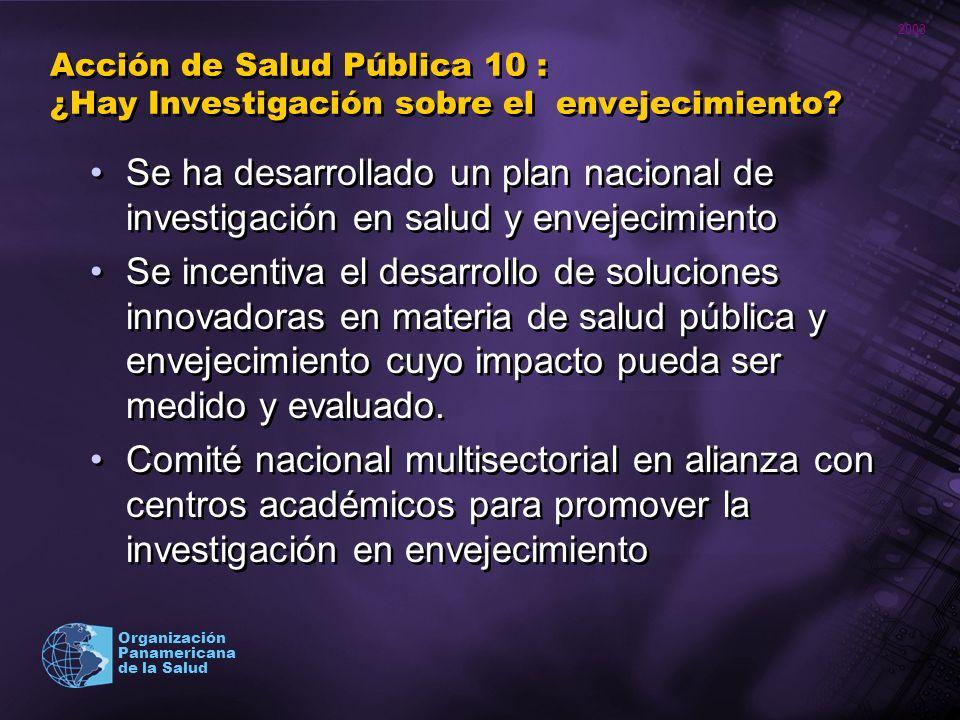 2003 Organización Panamericana de la Salud Acción de Salud Pública 10 : ¿Hay Investigación sobre el envejecimiento? Se ha desarrollado un plan naciona