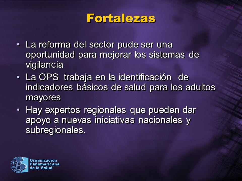 2003 Organización Panamericana de la Salud Debilidades En general, no se han desarrollado estrategias de carácter nacional dirigidas a evaluar la satisfacción de la atención de los adultos mayores Tampoco se cuenta con instrumentos y metodología probados con adultos mayores en la región para medir satisfacción con los servicios.