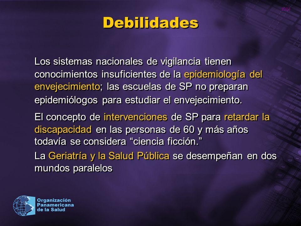 2003 Organización Panamericana de la Salud Debilidades Los sistemas nacionales de vigilancia tienen conocimientos insuficientes de la epidemiología de