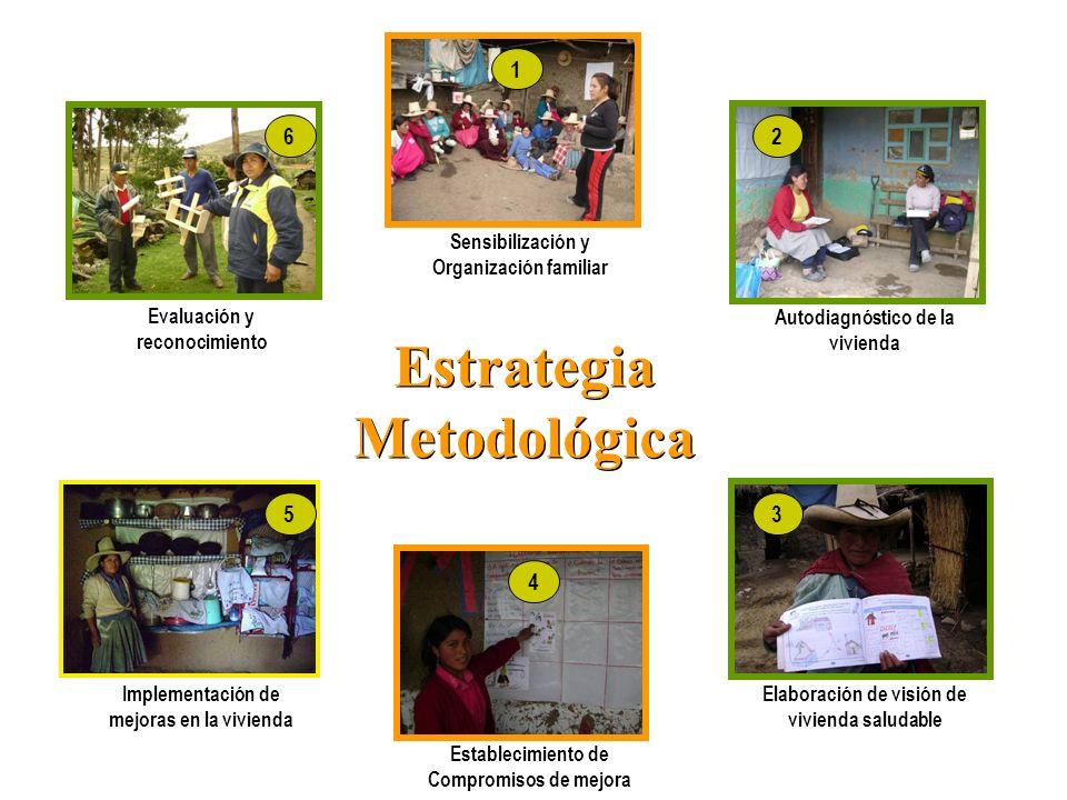 Estrategia Metodológica Autodiagnóstico de la vivienda Sensibilización y Organización familiar Elaboración de visión de vivienda saludable Establecimi