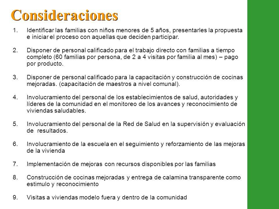 1.Identificar las familias con niños menores de 5 años, presentarles la propuesta e iniciar el proceso con aquellas que deciden participar. 2.Disponer