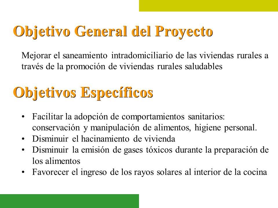 Objetivo General del Proyecto Mejorar el saneamiento intradomiciliario de las viviendas rurales a través de la promoción de viviendas rurales saludabl