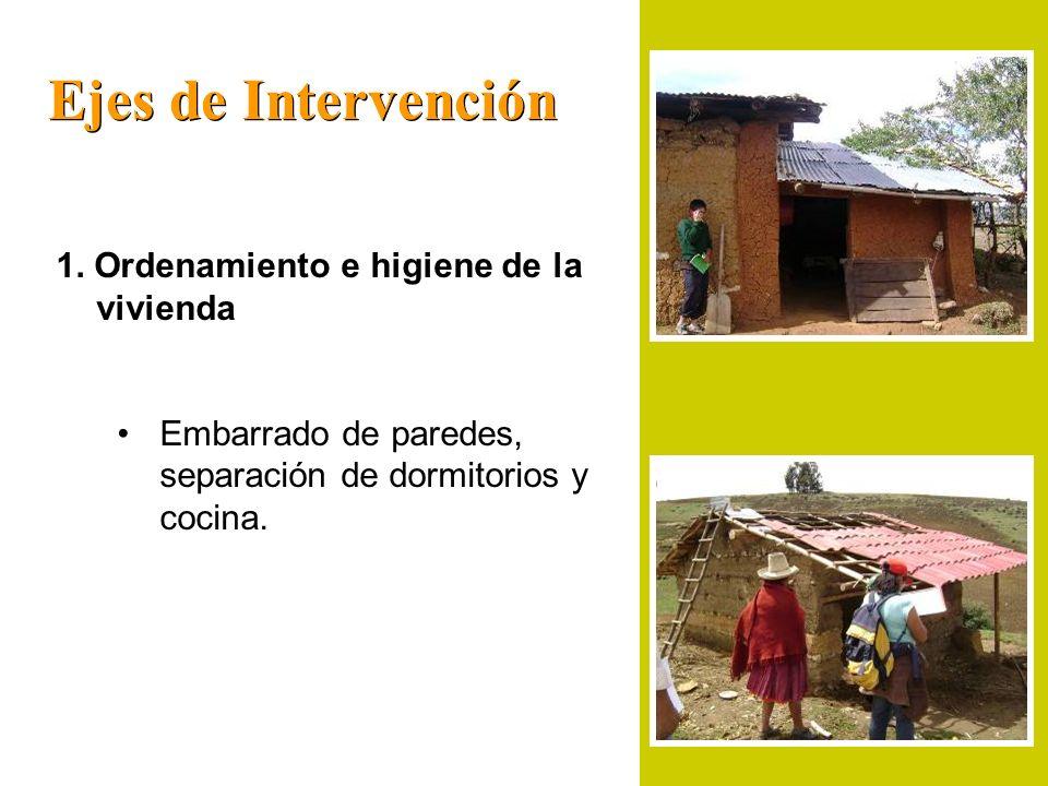 Ejes de Intervención 1. Ordenamiento e higiene de la vivienda Embarrado de paredes, separación de dormitorios y cocina.
