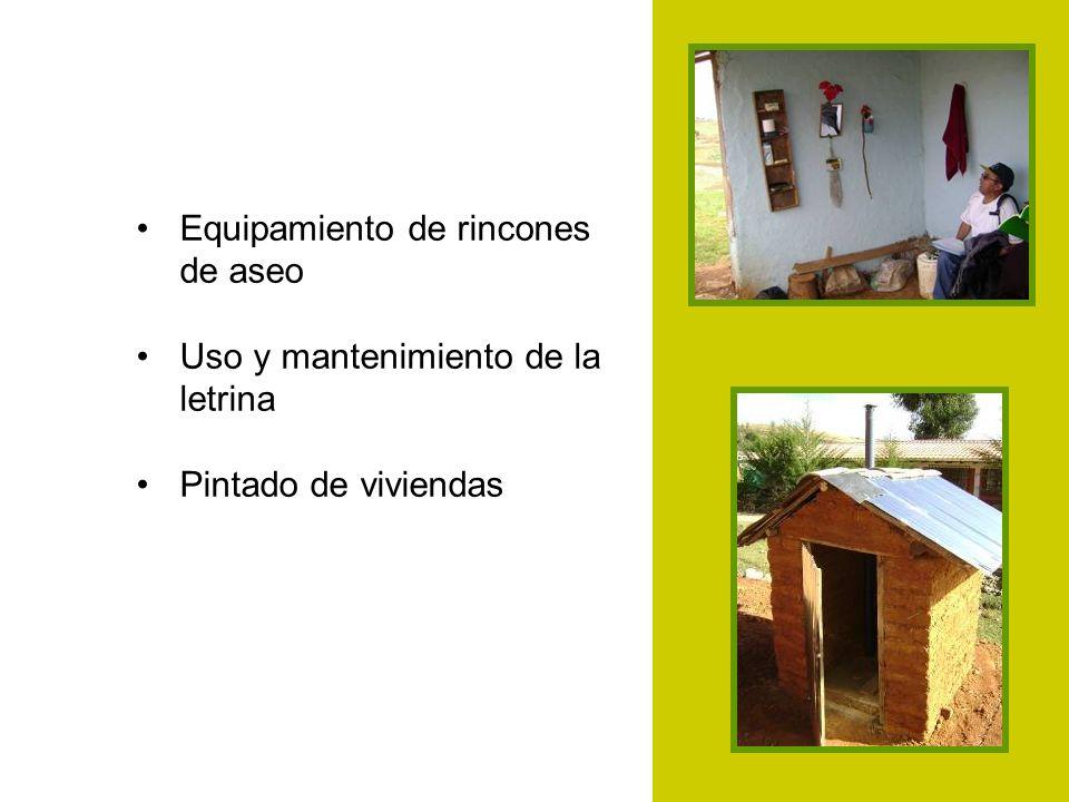 Equipamiento de rincones de aseo Uso y mantenimiento de la letrina Pintado de viviendas