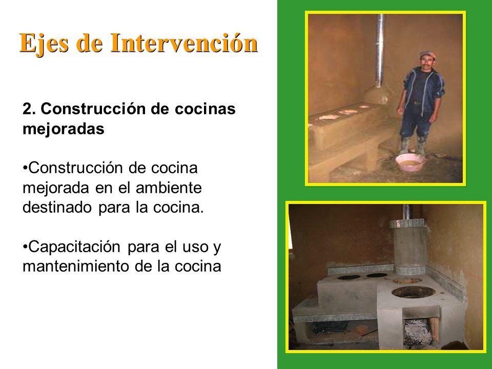 Ejes de Intervención 2. Construcción de cocinas mejoradas Construcción de cocina mejorada en el ambiente destinado para la cocina. Capacitación para e