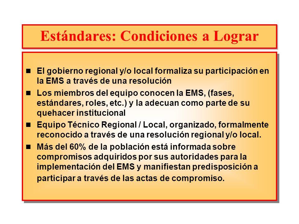 Estándares: Condiciones a Lograr El gobierno regional y/o local formaliza su participación en la EMS a través de una resolución Los miembros del equip