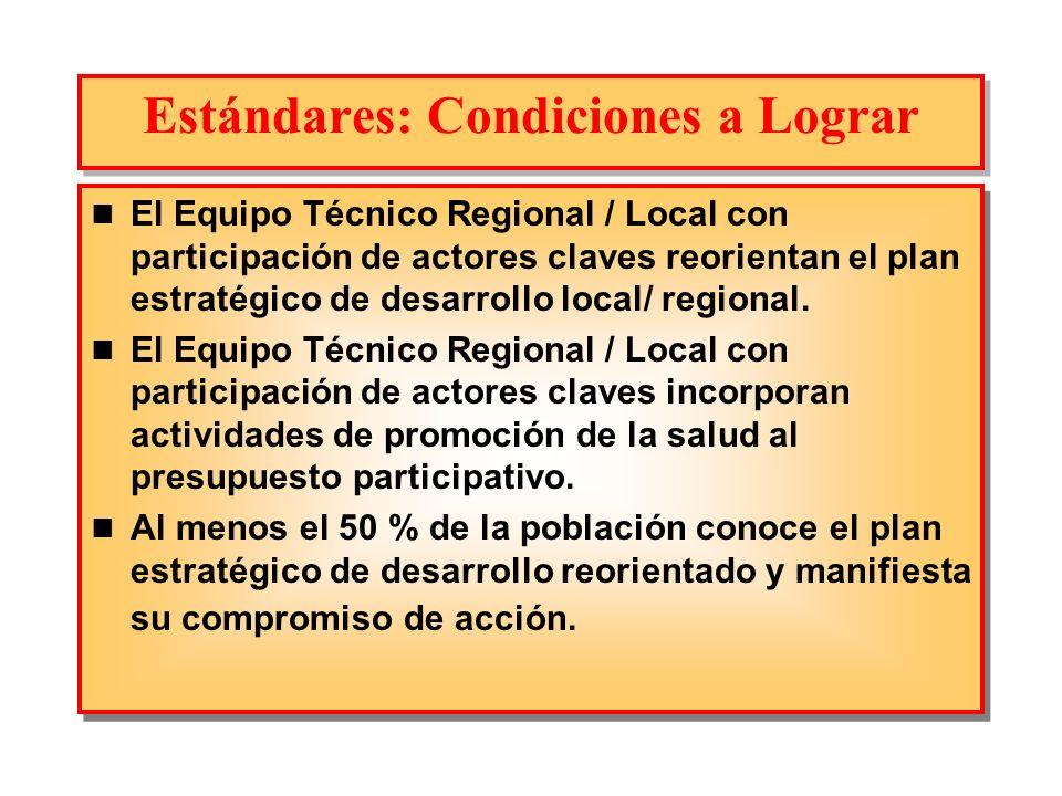 Estándares: Condiciones a Lograr El Equipo Técnico Regional / Local con participación de actores claves reorientan el plan estratégico de desarrollo l