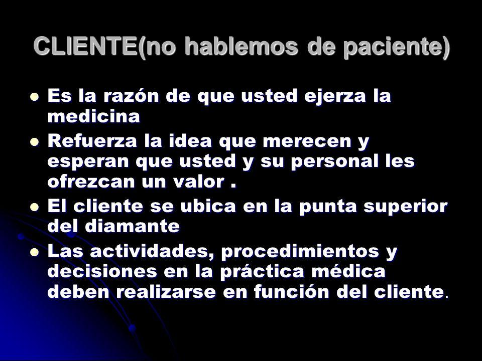 CLIENTE(no hablemos de paciente) Es la razón de que usted ejerza la medicina Es la razón de que usted ejerza la medicina Refuerza la idea que merecen