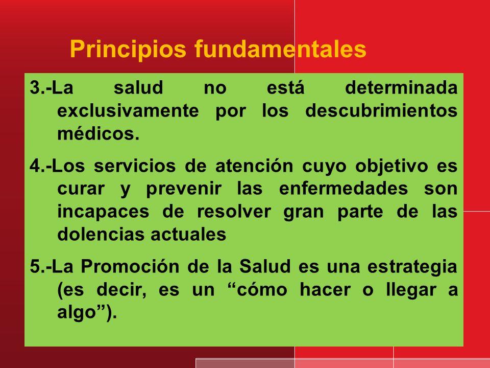 Principio fundamentales 1.- Reconocer que los determinantes de la salud más importantes, están fuera del contexto de la atención médica y del sector s