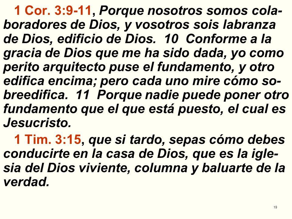 19 1 Cor. 3:9-11, Porque nosotros somos cola- boradores de Dios, y vosotros sois labranza de Dios, edificio de Dios. 10 Conforme a la gracia de Dios q