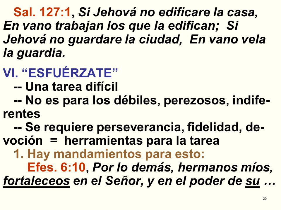 20 Sal. 127:1, Si Jehová no edificare la casa, En vano trabajan los que la edifican; Si Jehová no guardare la ciudad, En vano vela la guardia. VI. ESF