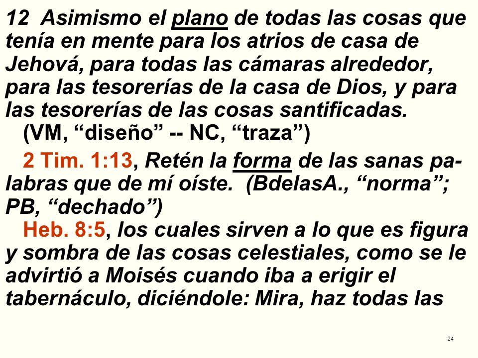 24 12 Asimismo el plano de todas las cosas que tenía en mente para los atrios de casa de Jehová, para todas las cámaras alrededor, para las tesorerías