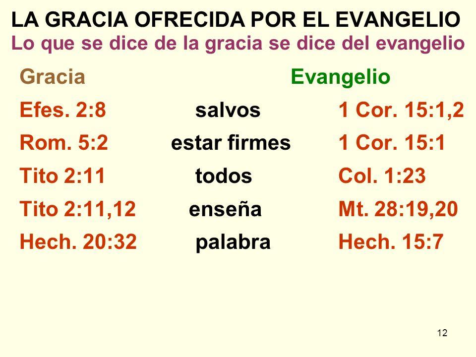 12 LA GRACIA OFRECIDA POR EL EVANGELIO Lo que se dice de la gracia se dice del evangelio GraciaEvangelio Efes. 2:8salvos1 Cor. 15:1,2 Rom. 5:2 estar f