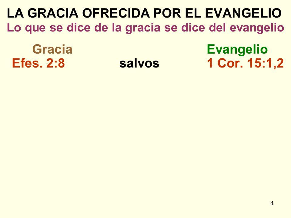 4 LA GRACIA OFRECIDA POR EL EVANGELIO Lo que se dice de la gracia se dice del evangelio GraciaEvangelio Efes. 2:8salvos1 Cor. 15:1,2