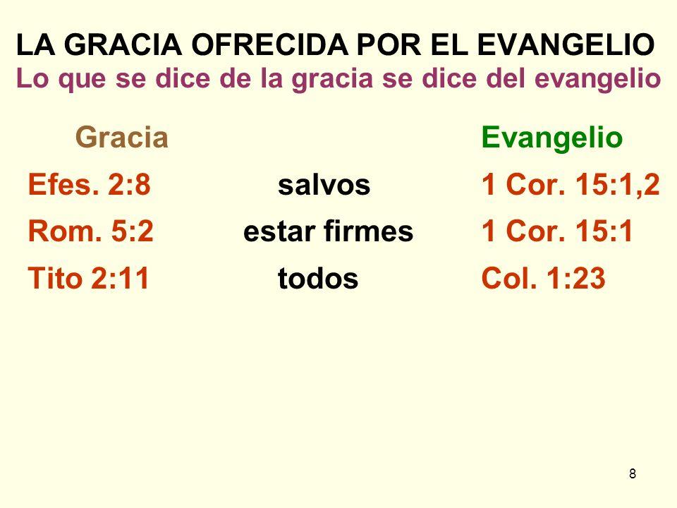 8 LA GRACIA OFRECIDA POR EL EVANGELIO Lo que se dice de la gracia se dice del evangelio GraciaEvangelio Efes. 2:8salvos1 Cor. 15:1,2 Rom. 5:2 estar fi