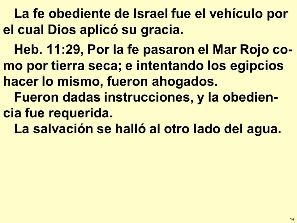 14 La fe obediente de Israel fue el vehículo por el cual Dios aplicó su gracia. Heb. 11:29, Por la fe pasaron el Mar Rojo co- mo por tierra seca; e in