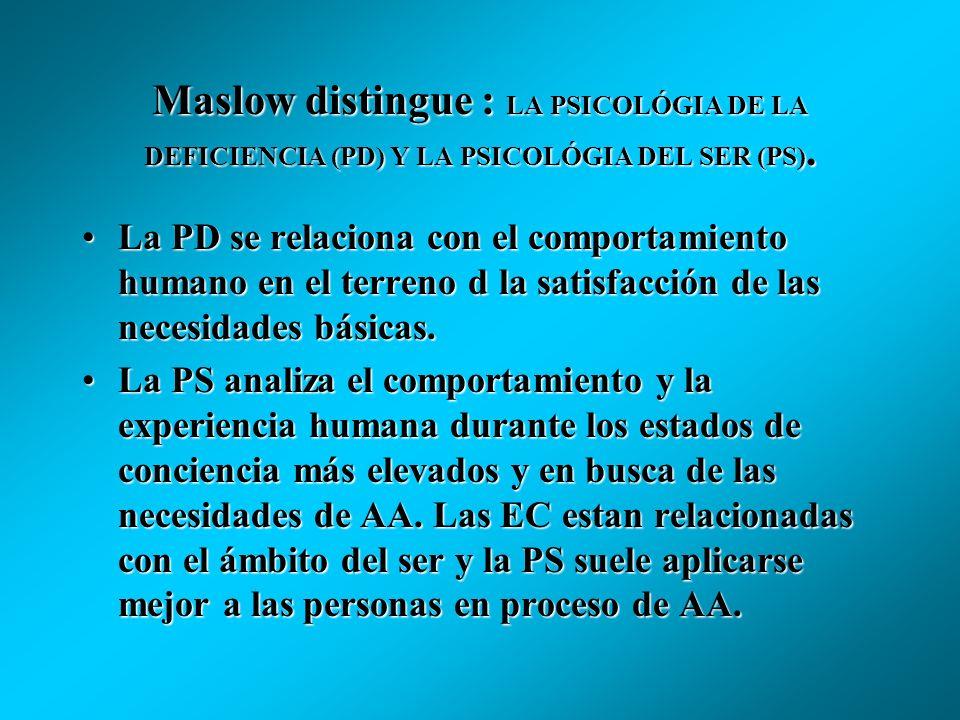 TRASCENDENCIA Y AUTOACTUALIZACIÓN. Maslow distingue entre:Maslow distingue entre: las personas AA que gozan de buena salud (pragmáticas) las personas