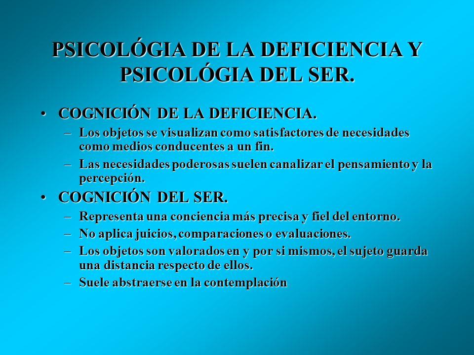 PSICOLÓGIA DE LA DEFICIENCIA Y PSICOLÓGIA DEL SER. MOTIVACIÓN DE LA DEFICIENCIA. Concentrada en las conductas cuyo cometido es satisfacer necesidades