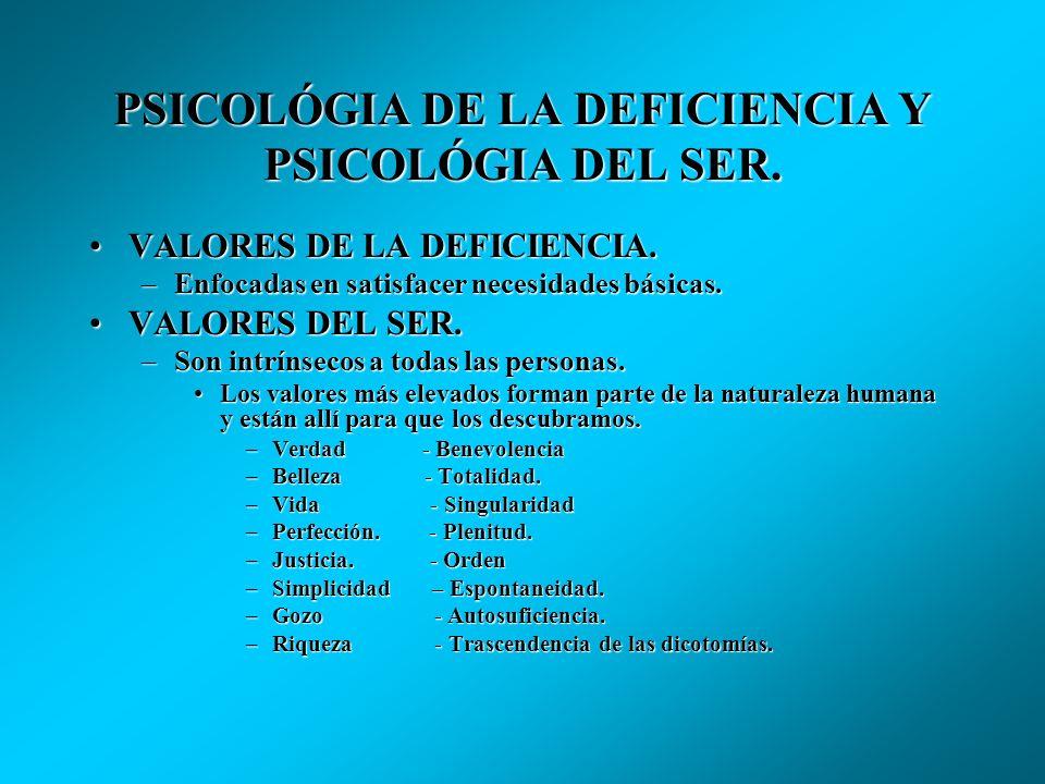 PSICOLÓGIA DE LA DEFICIENCIA Y PSICOLÓGIA DEL SER. COGNICIÓN DE LA DEFICIENCIA.COGNICIÓN DE LA DEFICIENCIA. –Los objetos se visualizan como satisfacto