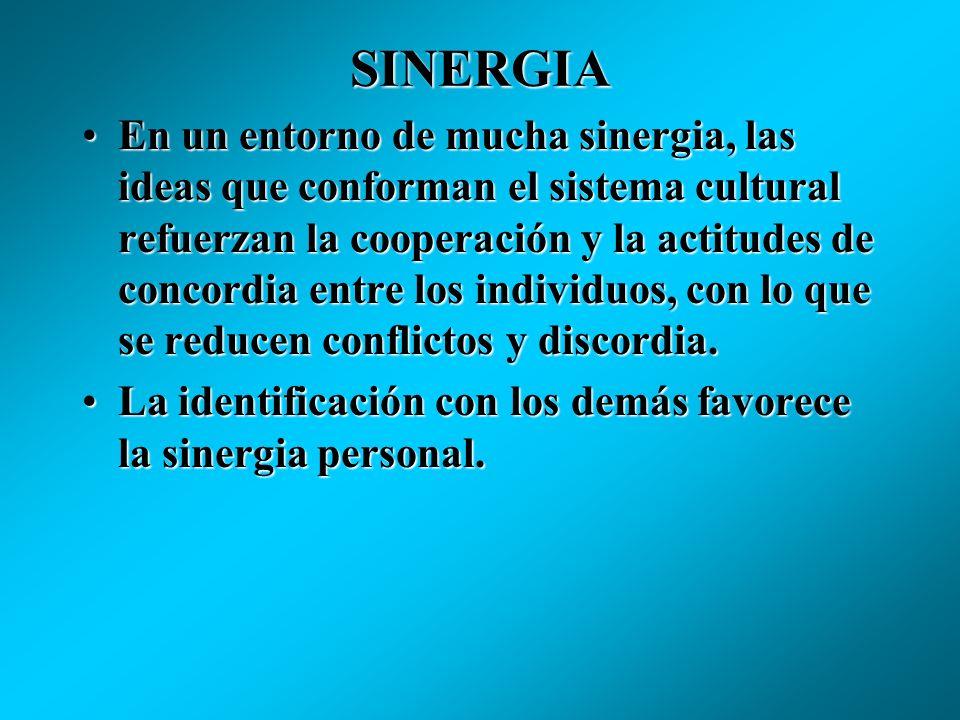 SINERGIA Alude al grado de cooperación impersonal y armonía que hay en el seno de una sociedad.Alude al grado de cooperación impersonal y armonía que