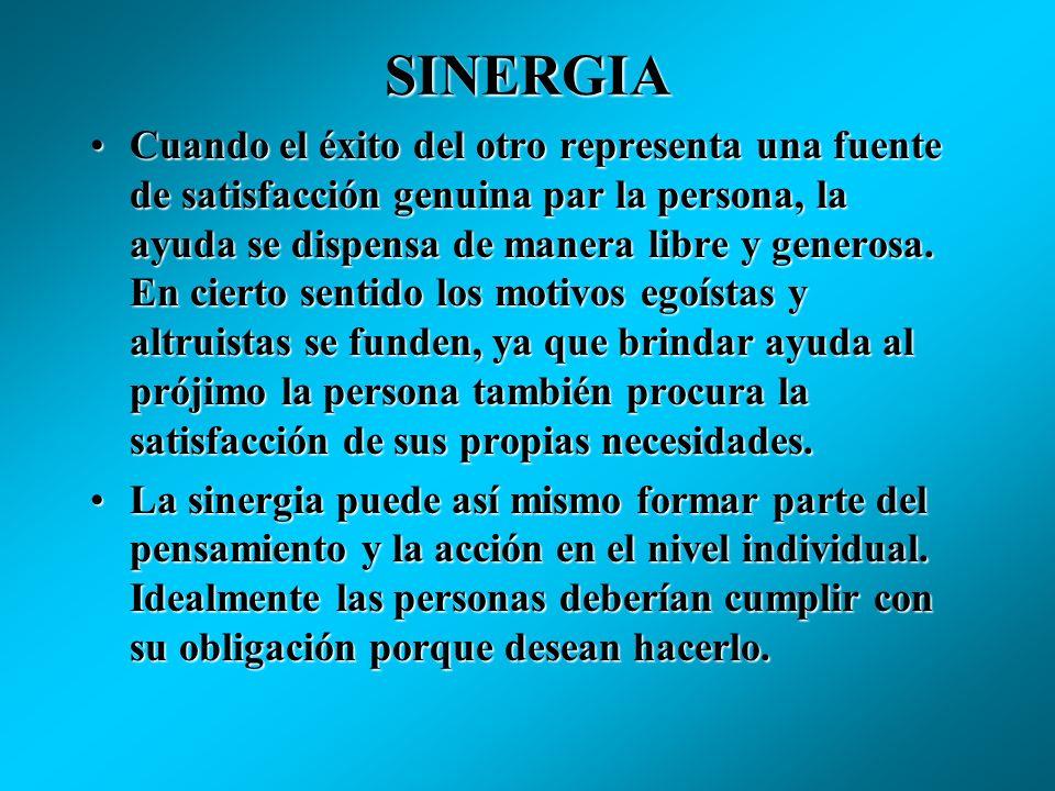 SINERGIA En un entorno de mucha sinergia, las ideas que conforman el sistema cultural refuerzan la cooperación y la actitudes de concordia entre los i