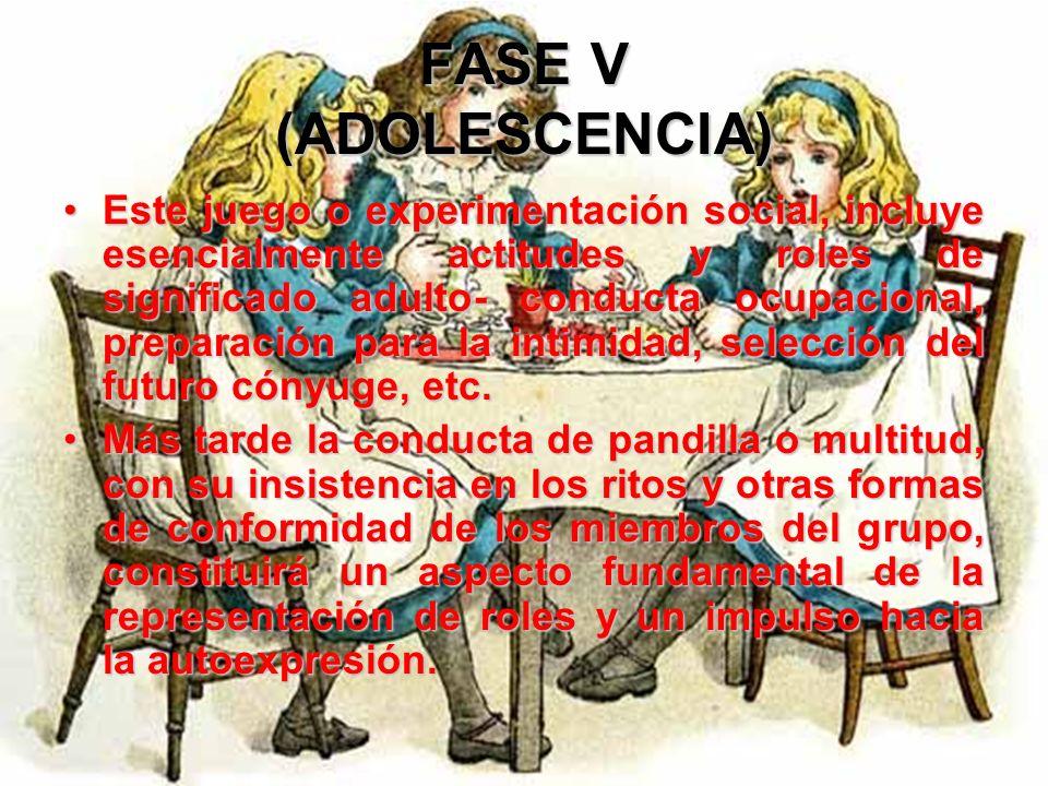 FASE V (ADOLESCENCIA) La representación de roles y la exageración verbal del tipo te desafío a y me atrevo a son una forma de juego social y un legíti