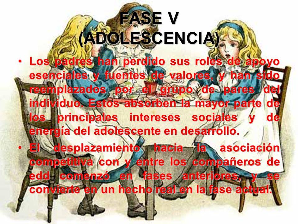 FASE V (ADOLESCENCIA) El joven seleccionara a sus adultos significativos, a causa de su influencia anterior o porque representan relaciones actuales e