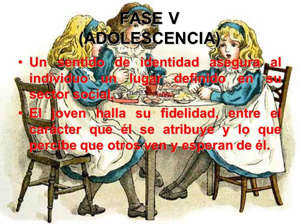 FASE V (ADOLESCENCIA) Esta búsqueda induce roles colectivos y experimentaciones destinados a combatir las inhibiciones individuales y los sentimientos