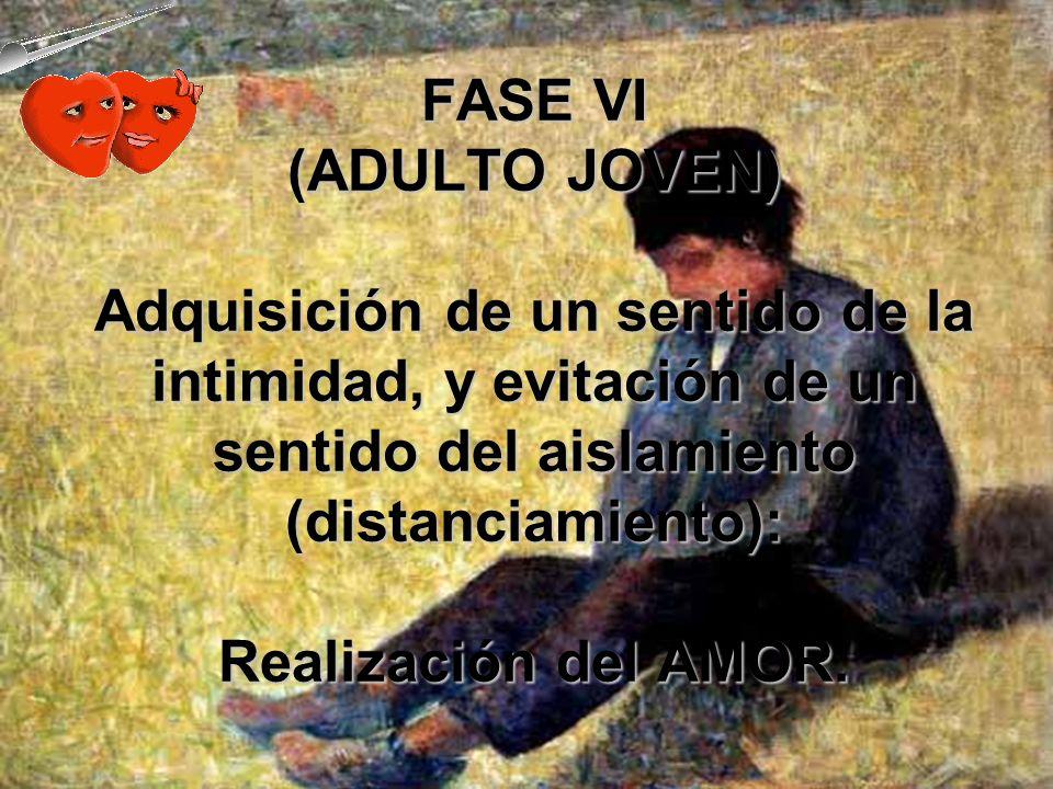 FASE V (ADOLESCENCIA) Un sentido de identidad asegura al individuo un lugar definido en su sector social.Un sentido de identidad asegura al individuo