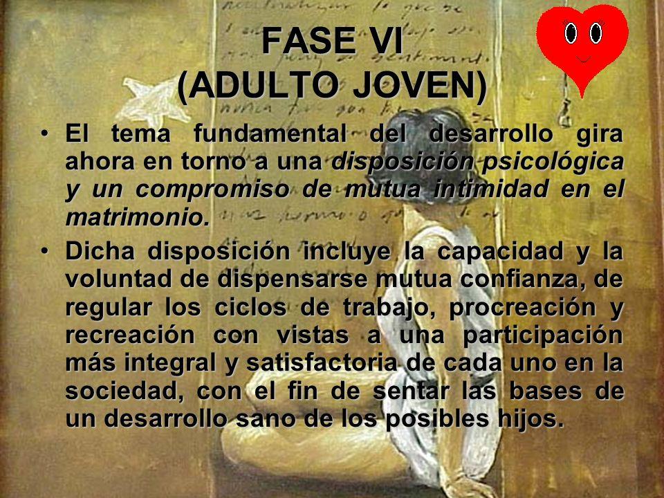 FASE VI (ADULTO JOVEN) La identidad del yo adquiere su fuerza definitiva con la elección de compañeros cuyas identidades yoicas sean complementarias e