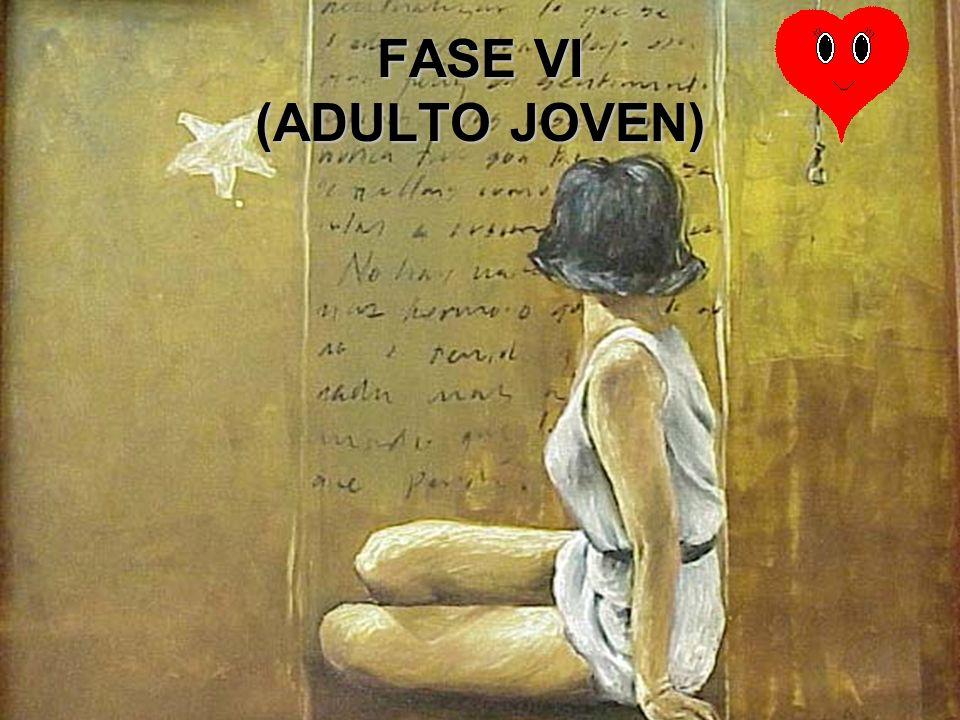 FASE VI (ADULTO JOVEN) El individuo demuestra su capacidad de realizar una adultez sana mediante su capacidad para amar y trabajar.El individuo demues
