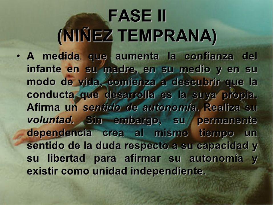 FASE II (NIÑEZ TEMPRANA) Adquisición de un sentido de autonomía al mismo tiempo que se combate contra un sentido de la duda y la vergüenza: Realizació