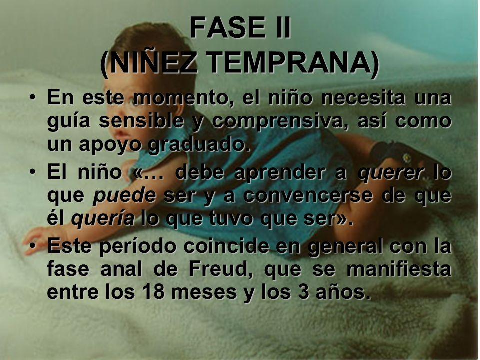 FASE II (NIÑEZ TEMPRANA) A medida que aumenta la confianza del infante en su madre, en su medio y en su modo de vida, comienza a descubrir que la cond