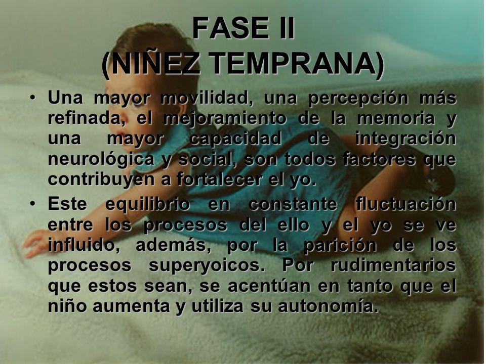 FASE II (NIÑEZ TEMPRANA) Desde el punto de vista físico, el niño sufre una aceleración en la maduración. Quiere explorar su mundo propio y realizar nu