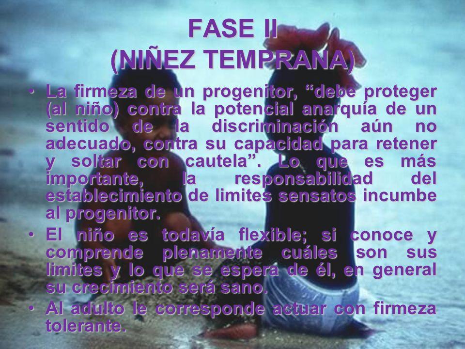 FASE II (NIÑEZ TEMPRANA) En esta etapa, vivir significa expandirse agresivamente, actuar de acuerdo con la propia voluntad, e insistir en los limites
